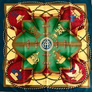 Hermès GRANDE TENUE Gold Silk Scarf H. D'Orginy
